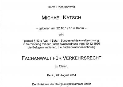 Urkunde Fachanwalt für Verkehrsrecht 2014