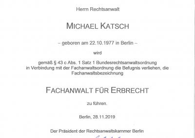 Urkunde Fachanwalt für Erbrecht 2019